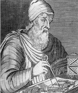 Portrait of Archimedes using a (drafting) compass